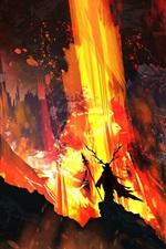 Imagem de arte, fogo, lava, chifres