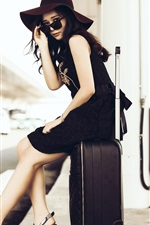 Preview iPhone wallpaper Asian girl, hat, sunglasses, suitcase, street