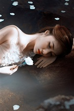 Preview iPhone wallpaper Asian girl rest in water, flower