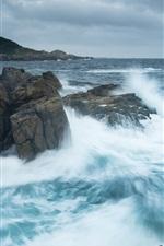 Preview iPhone wallpaper Atlantic Ocean, Canada, sea, stones, waves