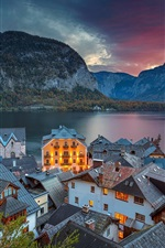 Preview iPhone wallpaper Austria, Hallstatt, Alps, houses, lake, clouds, dusk