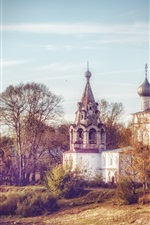 Preview iPhone wallpaper Autumn, cathedral, trees, river