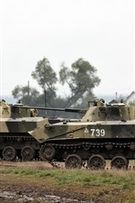 Preview iPhone wallpaper BMD-2 fighting vehicles exercises, Russia