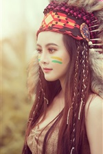 Preview iPhone wallpaper Beautiful Asian girl, Indian style, feathers