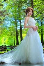 Preview iPhone wallpaper Beautiful bride, Asian girl, trees, water