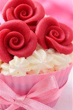 Preview iPhone wallpaper Beautiful cake, rose flowers, cream