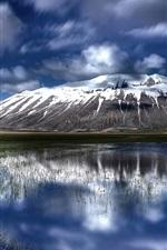 Beautiful nature landscape, clouds, water reflection