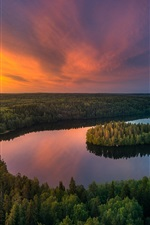 Preview iPhone wallpaper Beautiful nature landscape, lake, trees, forest, sunset