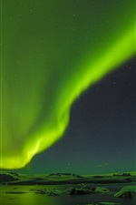 Preview iPhone wallpaper Beautiful northern lights, ice floes, night