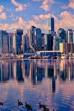 Preview iPhone wallpaper Canada, Vancouver, lake, water, ducks, skyscrapers, city