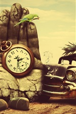 Preview iPhone wallpaper Cat driving a car, stone hand, clock, creative design