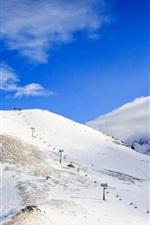 Caucasus, snow, mountains, clouds