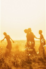 Preview iPhone wallpaper Children, flowers, shadow, summer, glare