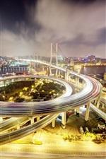 미리보기 iPhone 배경 화면 중국, 상하이, Nanpu Bridge, 밤, 조명, 도로, 건물
