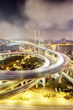 iPhone fondos de pantalla China, Shanghai, Nanpu Puente, noche, luces, carretera, edificios