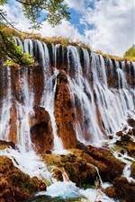Preview iPhone wallpaper China, nature landscape, waterfalls, trees, autumn, Jiuzhaigou