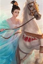 미리보기 iPhone 배경 화면 중국어 공주, 파란 드레스 소녀, 말, 복고풍, 예술 그림