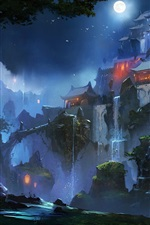 Preview iPhone wallpaper Chinese landscape, houses, moon, night, mountains, art drawing