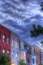 Preview iPhone wallpaper City, houses, windows, clouds, trees, HDR style