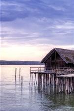 Preview iPhone wallpaper Coast, sea, huts