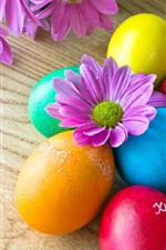 Preview iPhone wallpaper Colorful Easter eggs, purple flowers