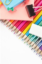 Preview iPhone wallpaper Colorful pencils, eraser, stationery