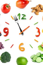 Preview iPhone wallpaper Creative clock, vegetables, fruit, white background