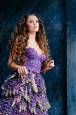 Curly hair girl, beautiful hyacinth skirt