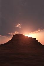 Preview iPhone wallpaper Desert, mountain, clouds, sunrise, dawn
