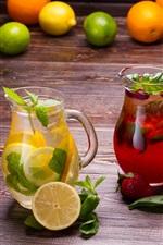 Drinks and fruits, lemon, strawberry, oranges