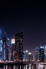 Preview iPhone wallpaper Dubai city night, lights, river, skyscrapers