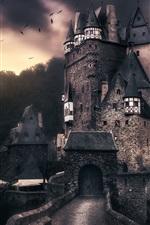 iPhone fondos de pantalla Castillo de ELTZ, Alemania, pájaros, nubes, anochecer