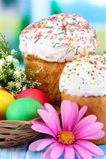 Easter eggs, cake, flowers
