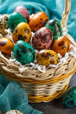 Easter eggs, colorful, basket, cloth