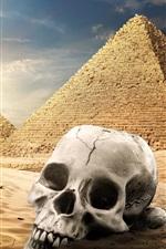 Preview iPhone wallpaper Egypt pyramid, desert, skull, camel, sunset