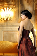 Preview iPhone wallpaper Elegant girl, red clothing, furniture, lights, decoration