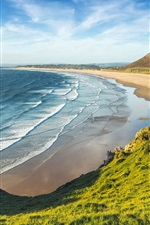 Preview iPhone wallpaper England, Wales, sea, beach, greens, mountains, clouds