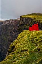 Faroe Islands, Atlantic ocean, Denmark, sea, cliff, red dress girl