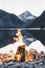 Fire, flame, stones, lake, dusk
