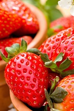 Preview iPhone wallpaper Fresh strawberries, flowers, bowl
