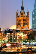 Germany, Cologne, Cathedral, boat, night, lights