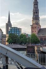 Preview iPhone wallpaper Germany, Hamburg, church, river, bridge, tower, houses