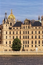 Preview iPhone wallpaper Germany, Schwerin, castle, river, trees