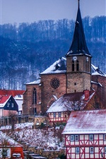 Preview iPhone wallpaper Germany, Thuringia, church, houses, town, trees, winter, dusk