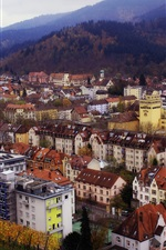 Preview iPhone wallpaper Germany, city, houses, buildings, mountains, top view