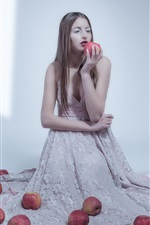 Preview iPhone wallpaper Girl and apples, room