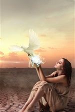 Girl and birds, sunset, creative picture