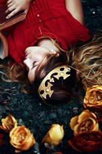 Girl lying on ground, read book, crown, roses