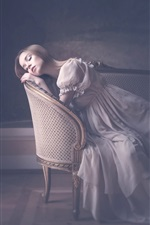 Preview iPhone wallpaper Girl sleep on chair, furniture, vintage style