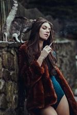 Preview iPhone wallpaper Girl, smoke, bikini, coat
